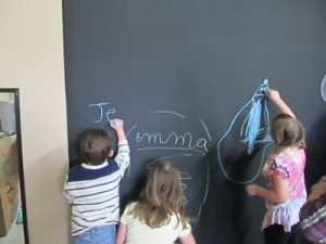 DIY Magnetic Chalkboard Kids Wall