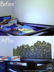 DIY Superhero Skyline Chalkboard