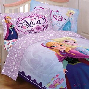Disney Frozen Full Bedding Set 5pc Anna Elsa Celebrate Love