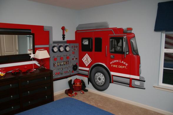 Fire truck wall mural groovy kids gear for Fire truck bedroom ideas