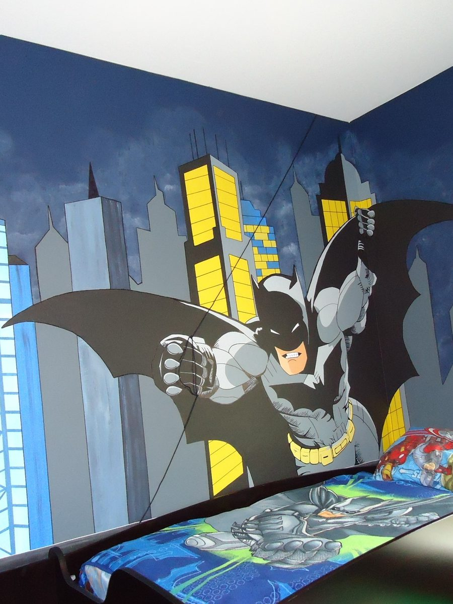 Giant batman wall mural groovy kids gear for Batman bedroom wall mural