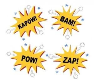 Kapow bam pow Zap Wall Stencils