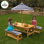 KidKraft Outdoor Table & Chair Set with Navy Cushions