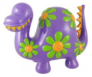 Large Flowered Purple Dinosaur Piggy Bank Coin Money