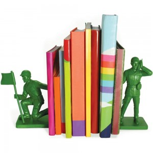Large Green Army Soldier Men Bookends, Set of 2