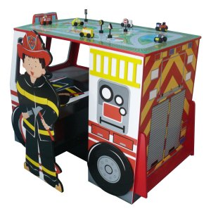 Teamson Kids Fire Engine Desk and Chair Set