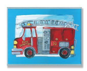 The Kids Room Fire Truck Blue Border Wall Plaque